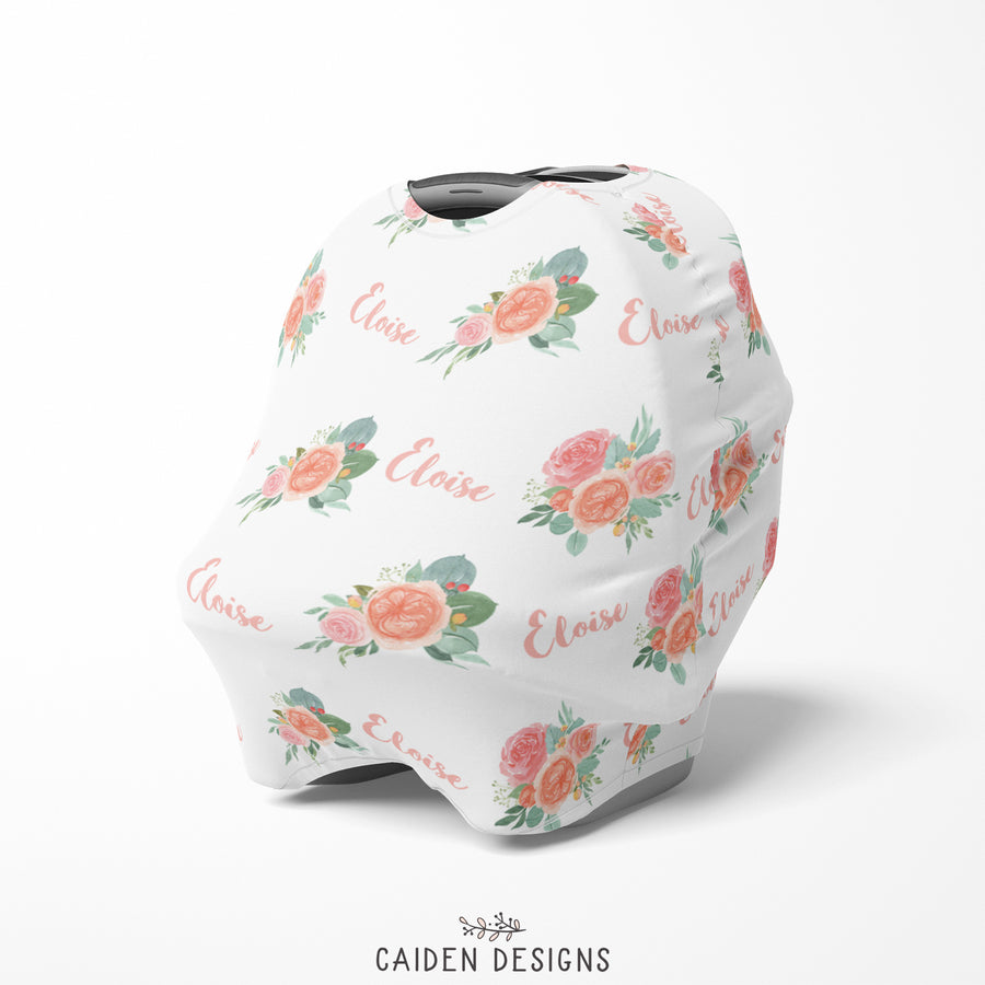 Peach Floral Multi-Use Baby Car Seat Cover