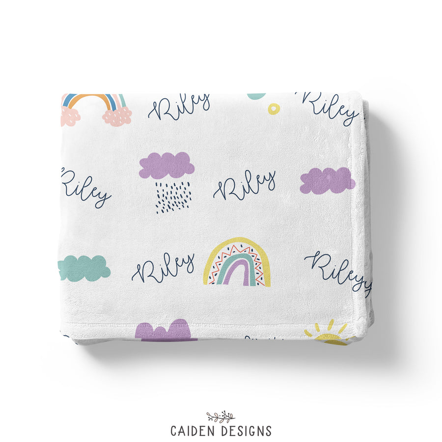Scandinavian Rainbows Personalized Baby Blanket