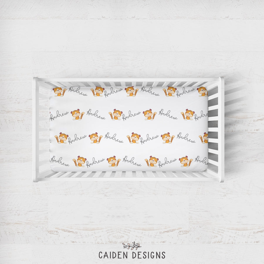 Tiger Personalized Crib Sheet