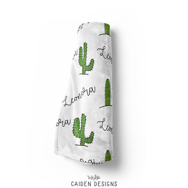 Tropical Cactus Personalized Baby Blanket