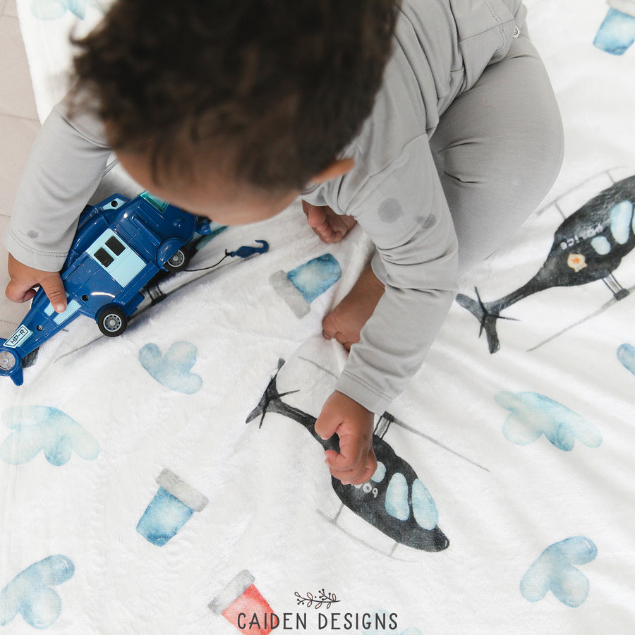 Police Helicopter Personalized Blanket