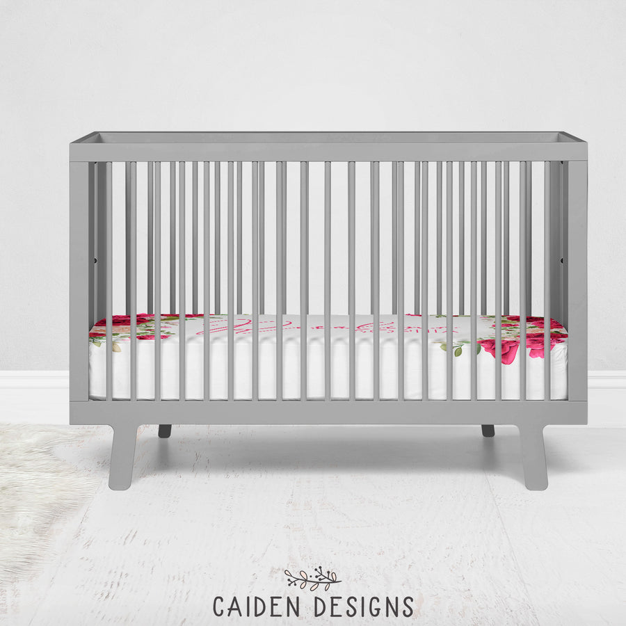 Roses Personalized Crib Sheet