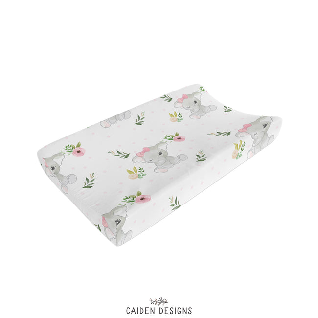 Rosey Elephant Changing Pad Cover
