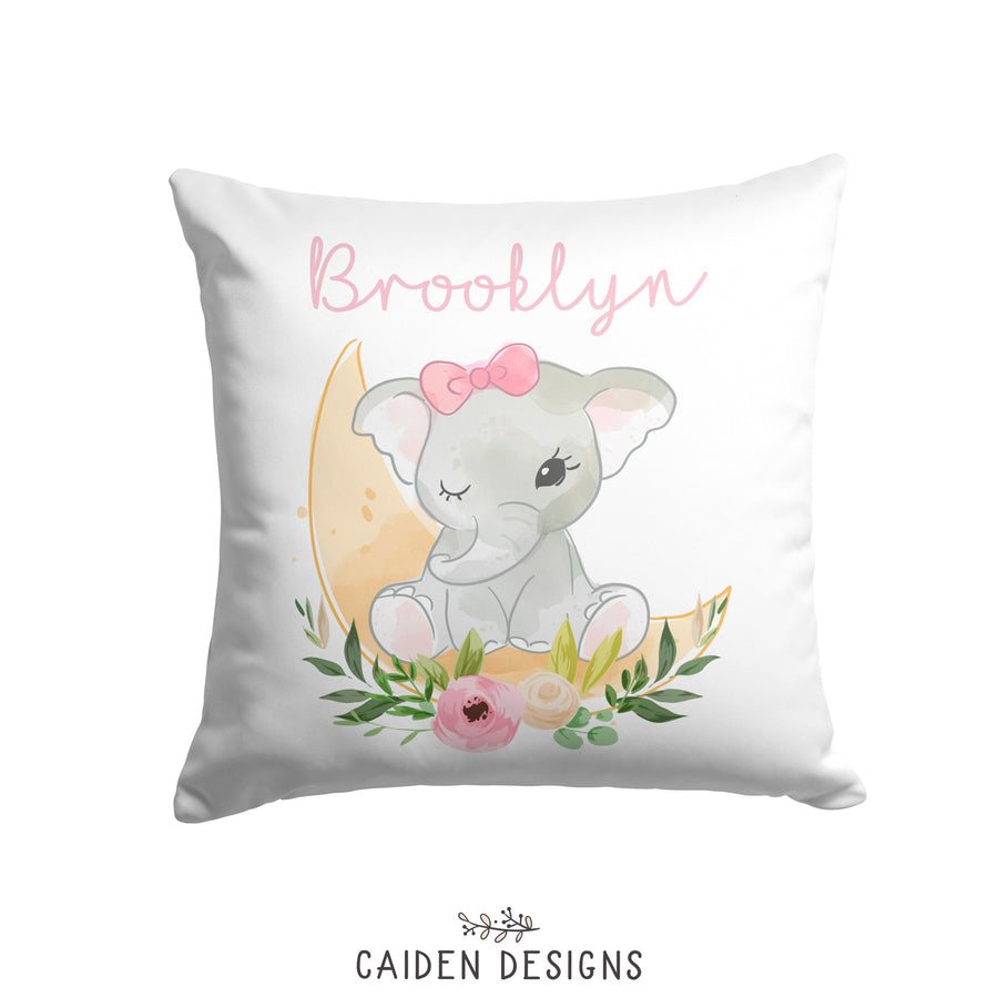 Rosey Elephant Personalized Pillow