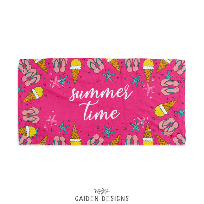 Flip Flops + Ice Cream Personalized Beach Towel