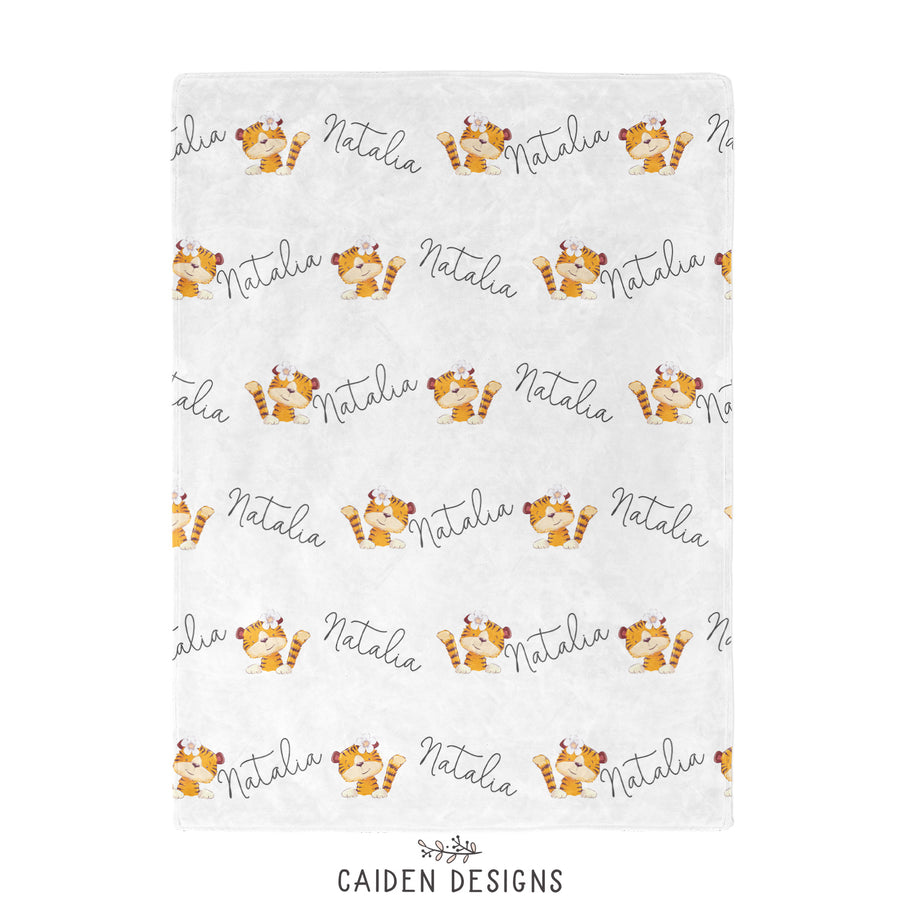 Personalized Girl/Boy Tiger Baby Blanket
