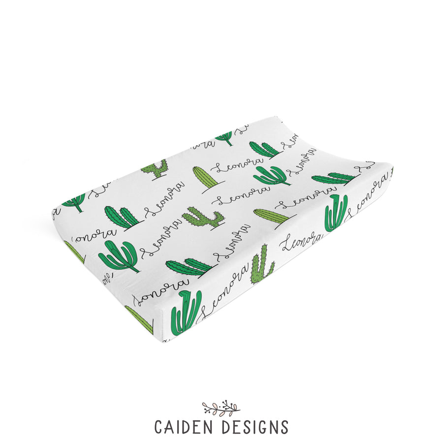 Tropical Cactus Personalized Changing Pad Cover
