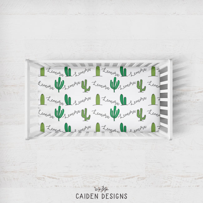 Tropical Cactus Personalized Crib Sheet