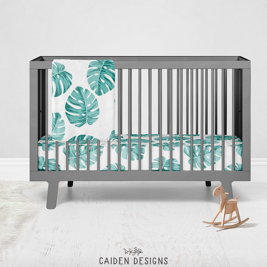 Tropical Palm Leaves Personalized Crib Sheet