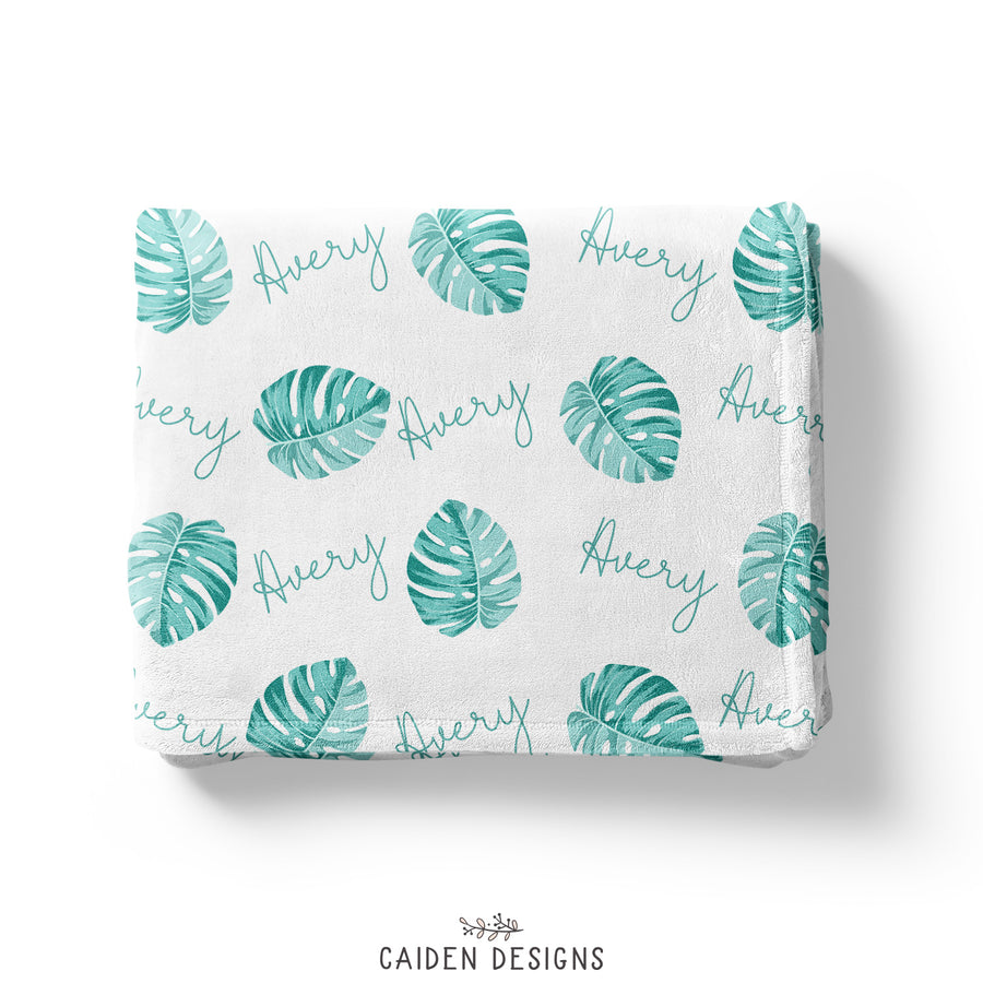 Tropical Palm Leaves Personalized Baby Blanket