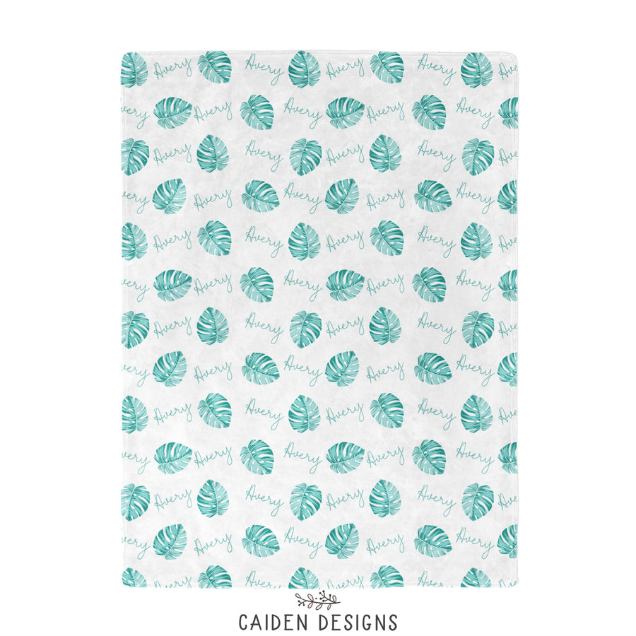 Tropical Palm Leaves Personalized Blanket