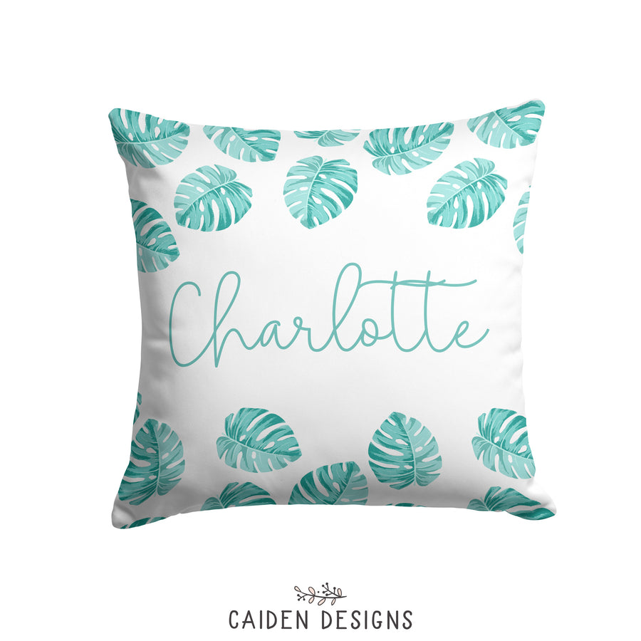 Tropical Palm Leaves Personalized Pillow