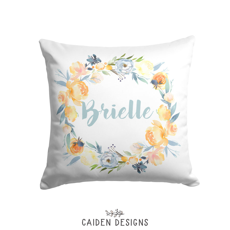 Watercolor Roses & Thistles Personalized Pillow