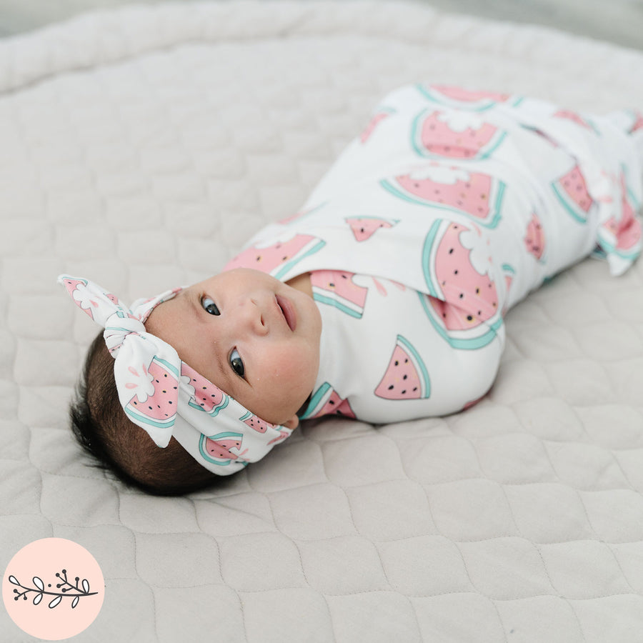 Watermelon Personalized Knit Baby Swaddle Blanket
