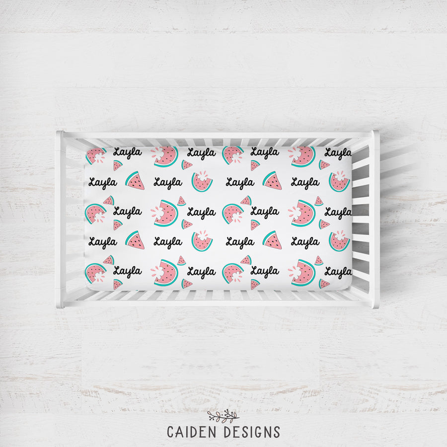 Watermelon Personalized Crib Sheet