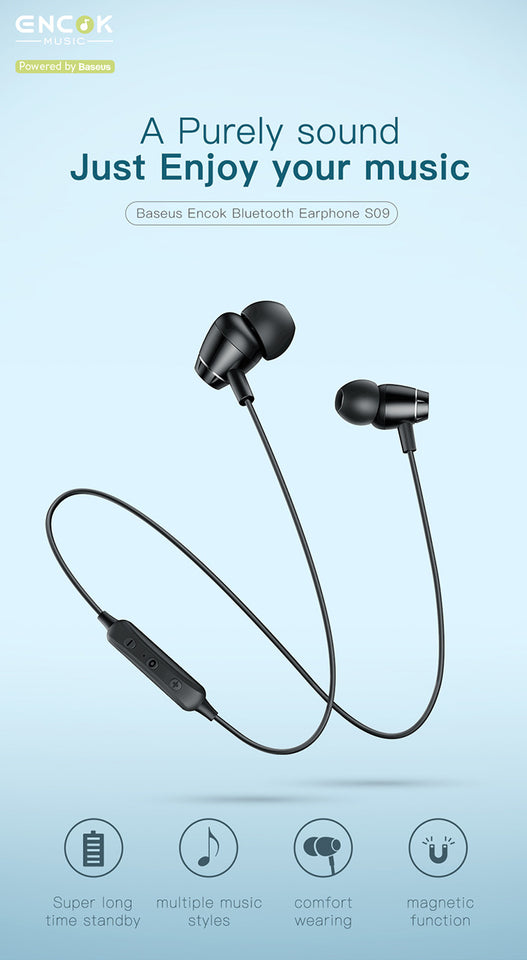 Baseus S09 Bluetooth Earphone Wireless