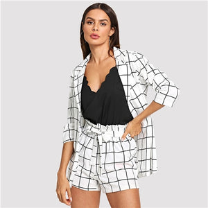 Black and White Plaid Notched Blazer