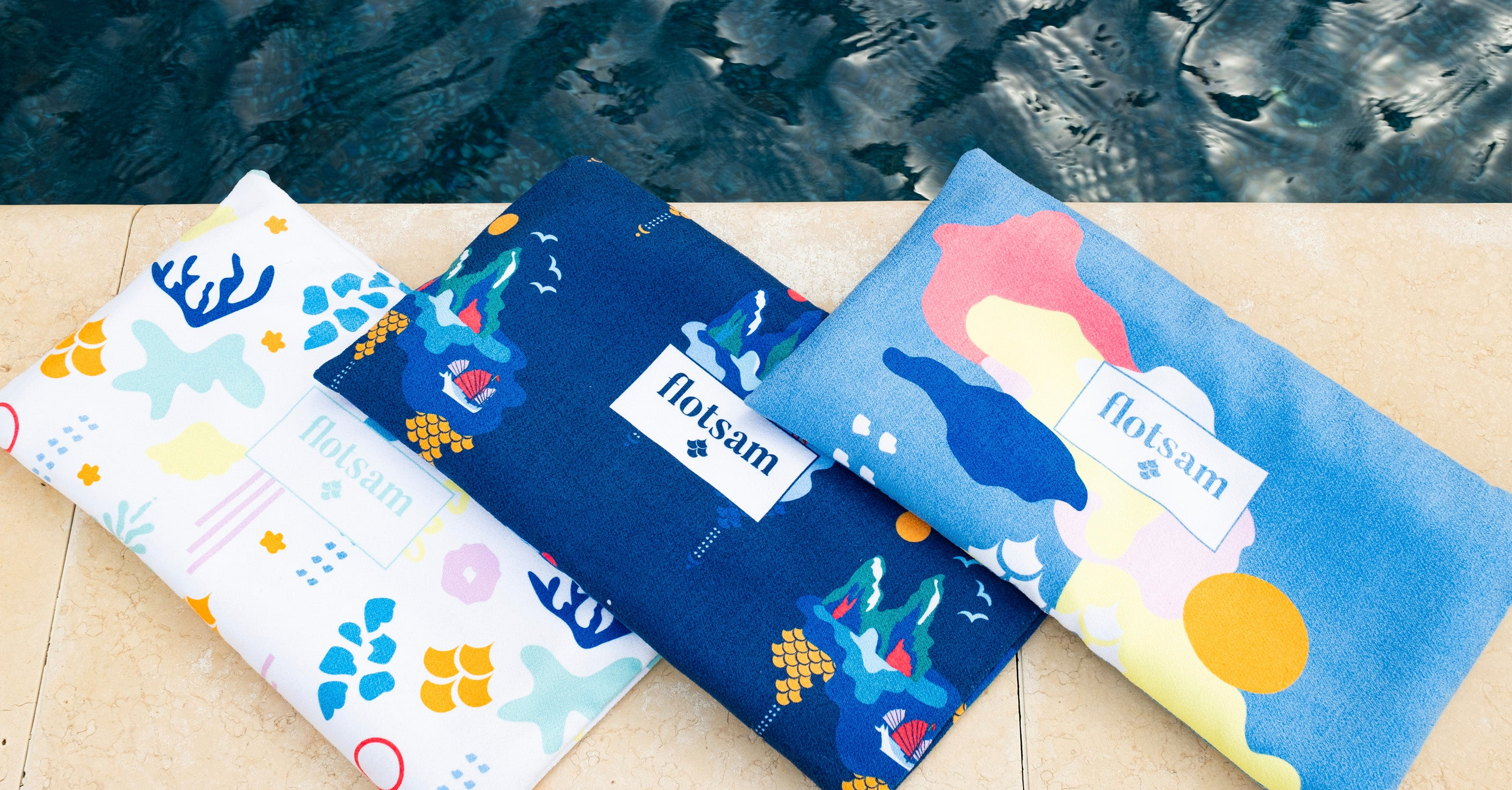 Three microfibre beach towel designs with pillow cases