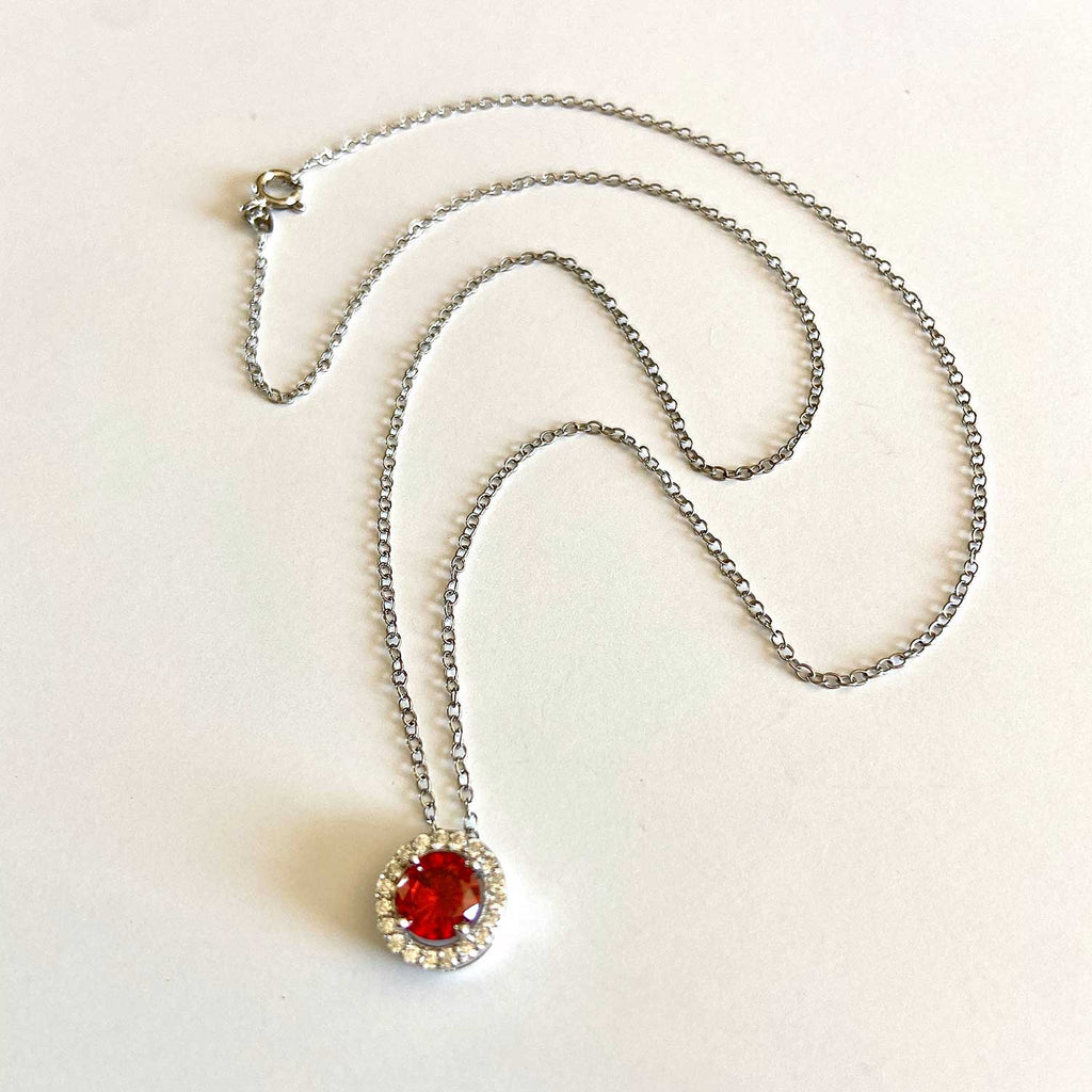 Red Quartz Silver Necklace