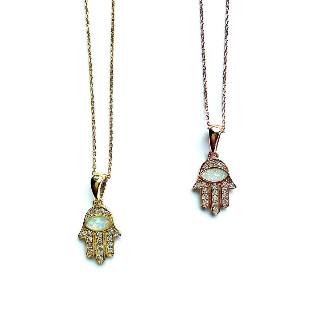 Hamsa with Opal Necklace