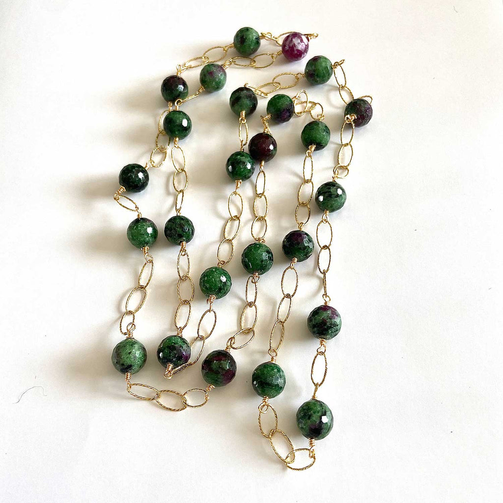 Zoisite and 18 K Yellow Gold Filled Necklace