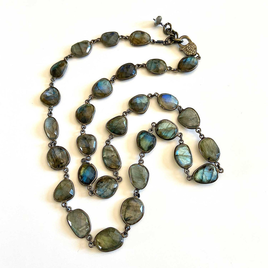 Labradorite and Oxidized Sterling Silver Necklace
