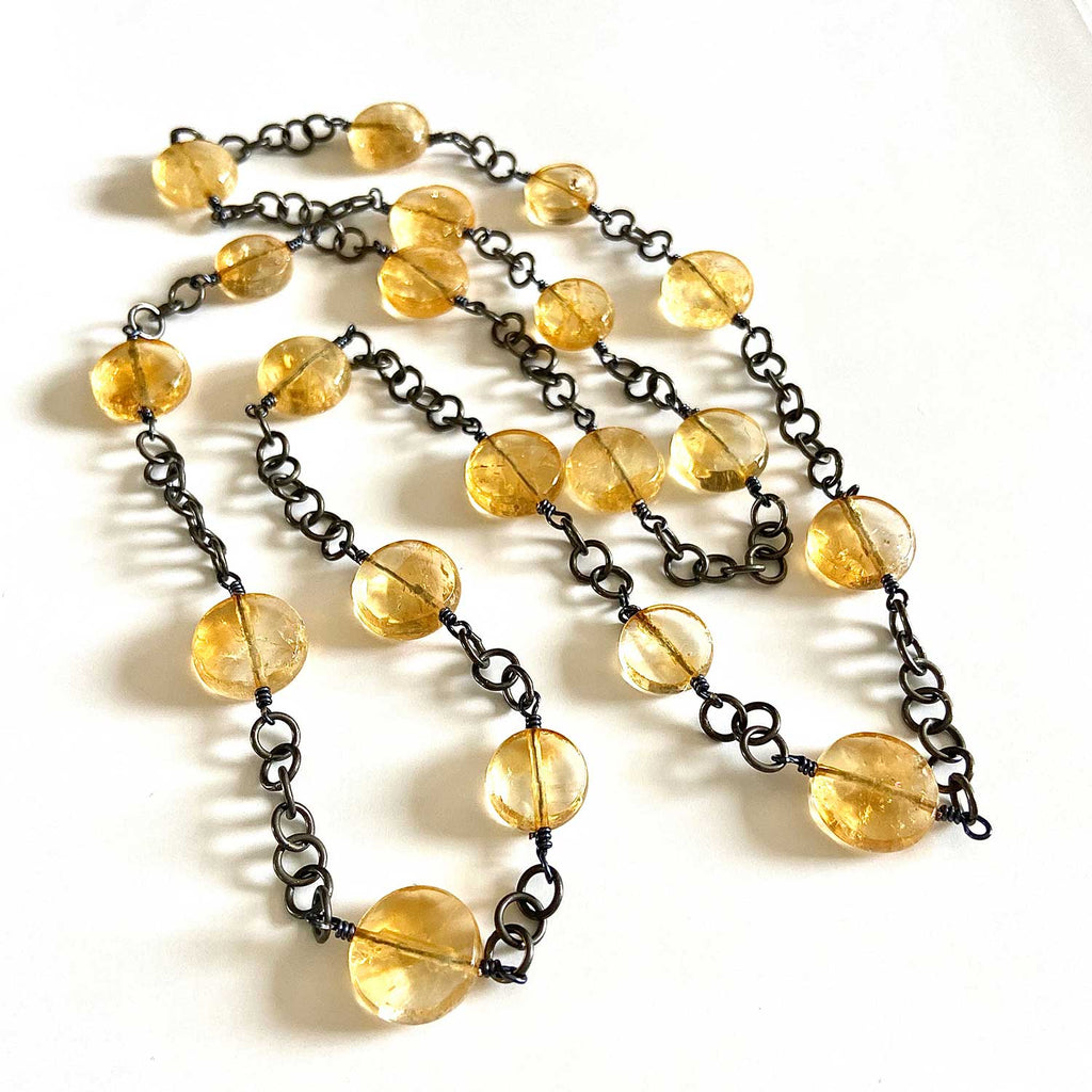 Citrine and Oxidized Silver Necklace