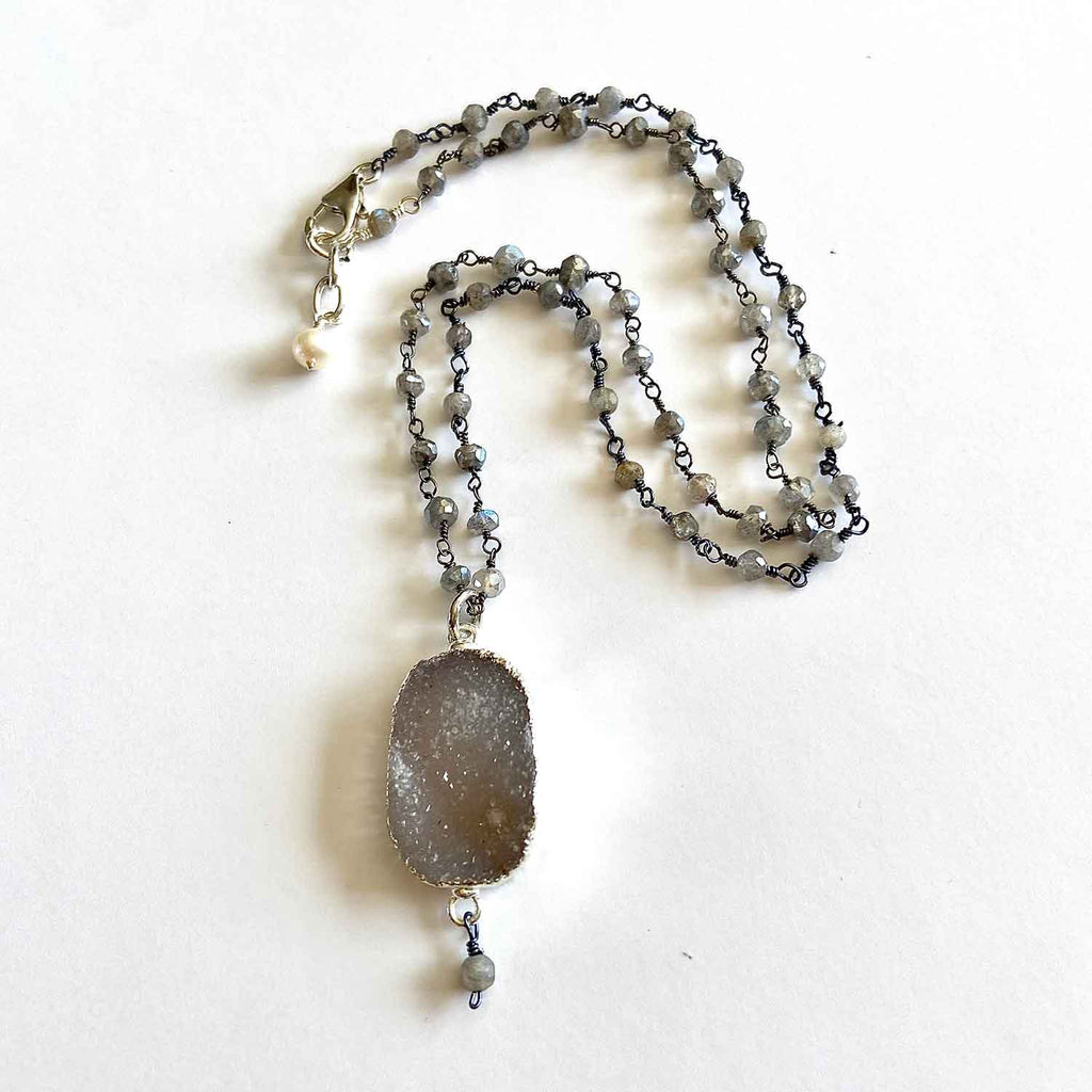 Kyanite and Druse Necklace