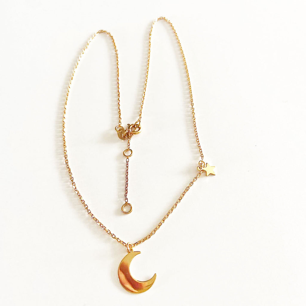 Single Moon and Star Necklace