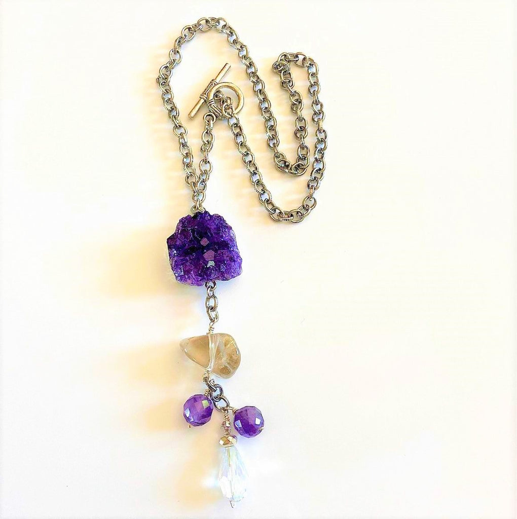 Amethyst and Druse Necklace