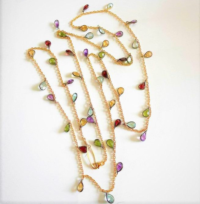 Multi-gemstone and  Oxidized Silver and Gold Necklace
