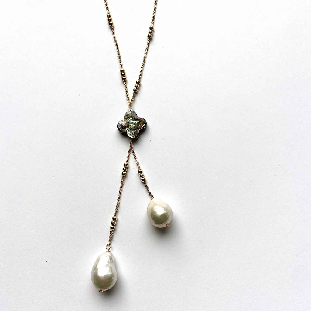 Cultured Pearl and Gold Tassel Necklace