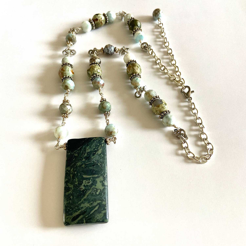 Forest Jasper and Larimar Necklace
