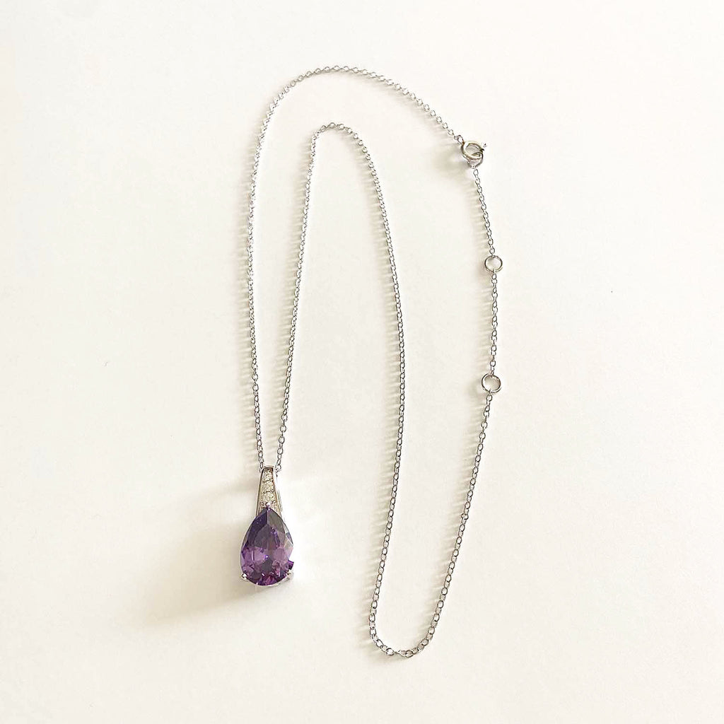 Pear Shaped Amethyst Necklace