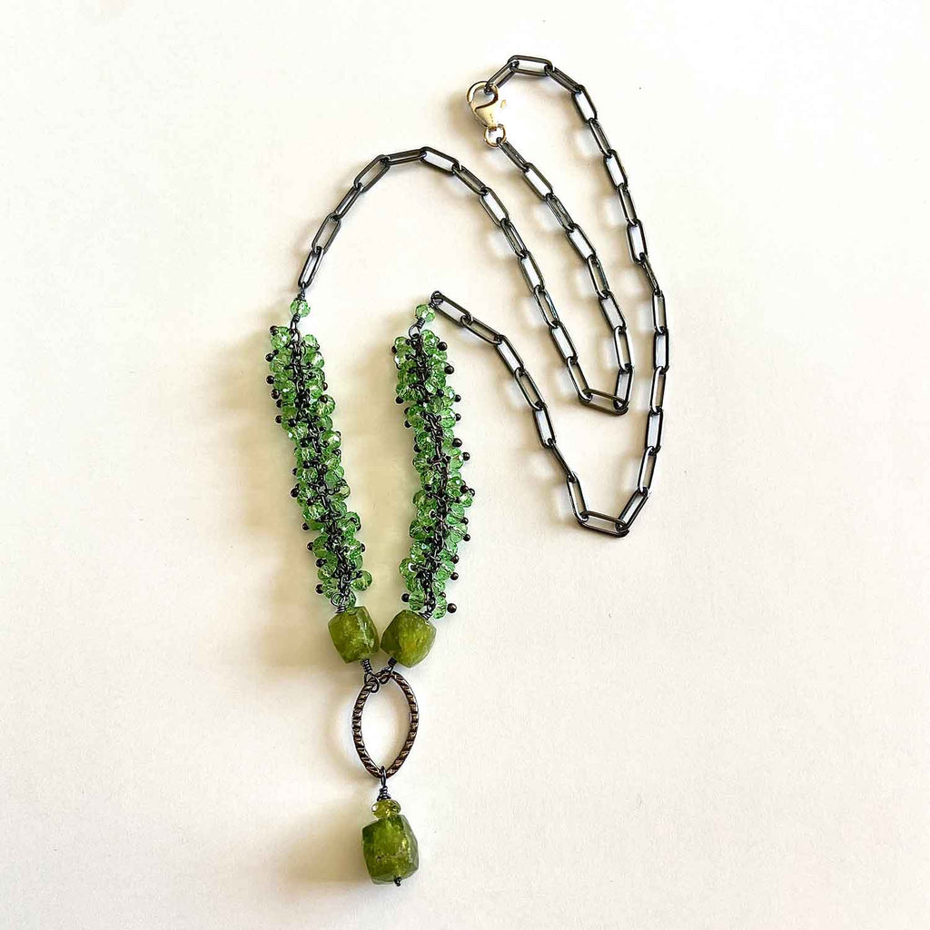 Peridot and Oxidized silver Necklace