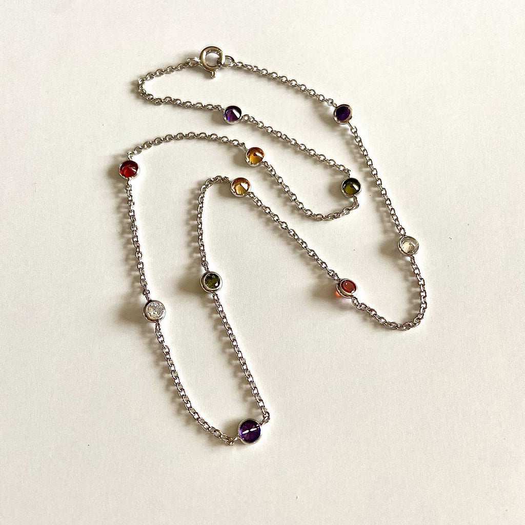 Sterling Silver and Gemstones by the Yard Necklace