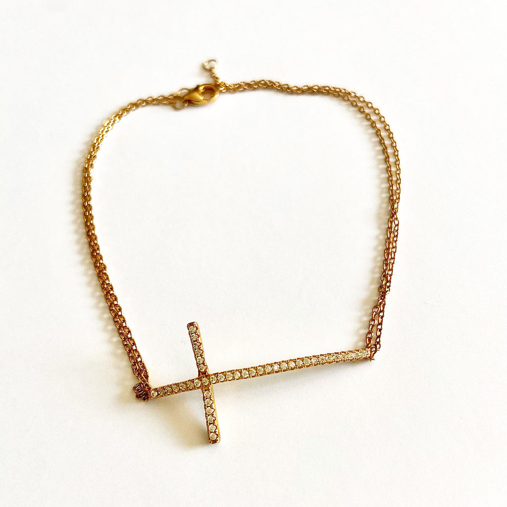 Large Gold Cross Bracelet