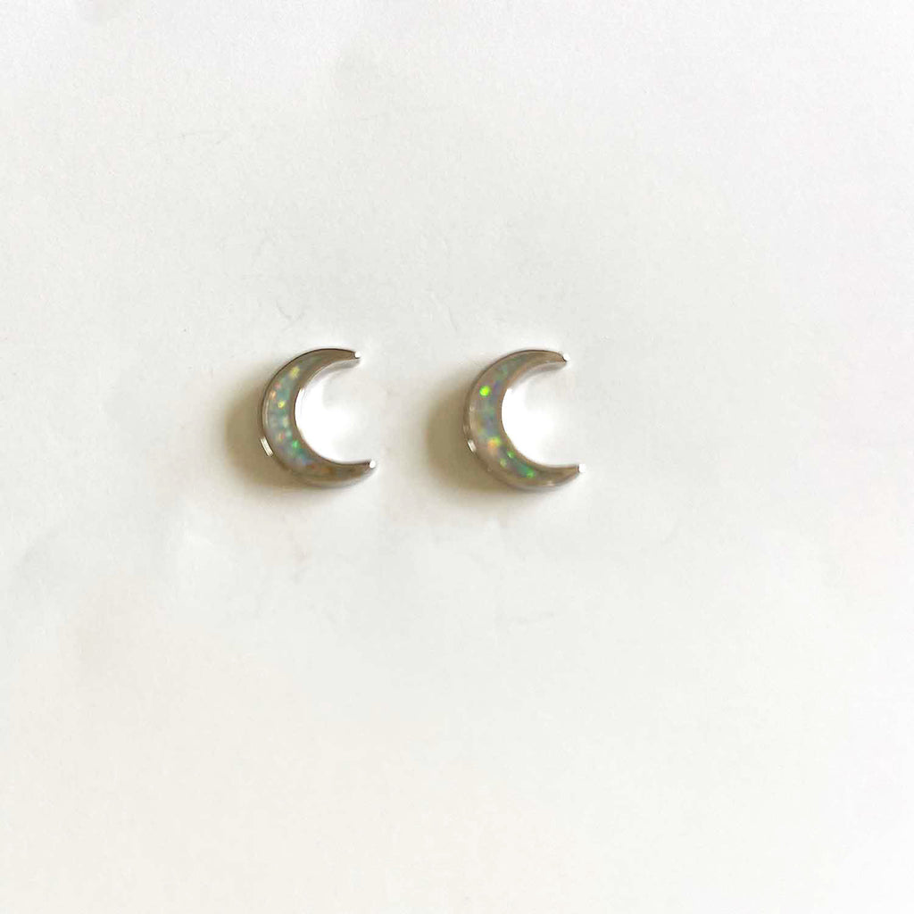 Thin Lunar Opal Earrings