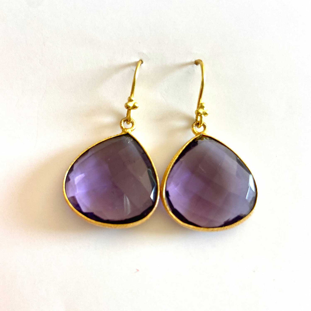 Amethyst and Gold Droplet Earrings