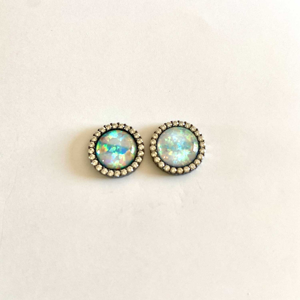 Opal Round Oxidized Silver Earrings