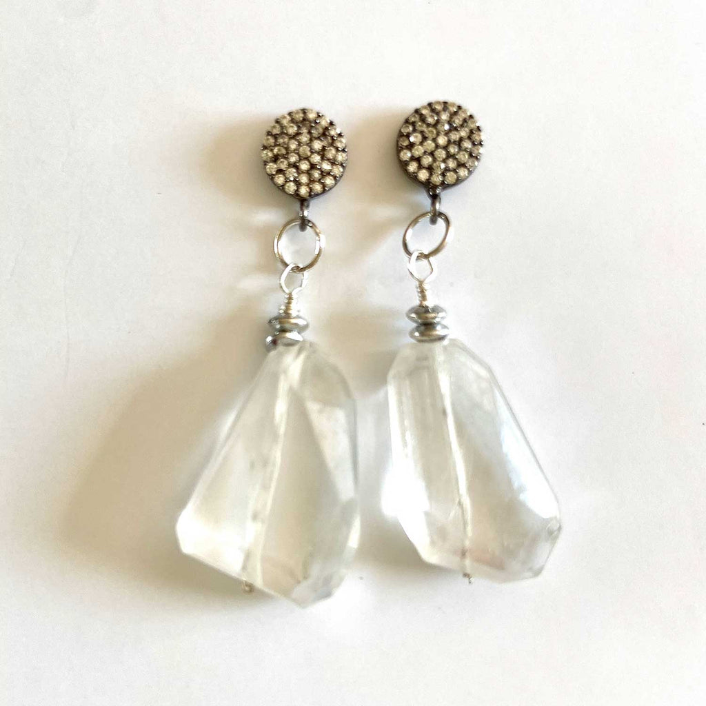 Quartz and White Topaz with Silver Earrings