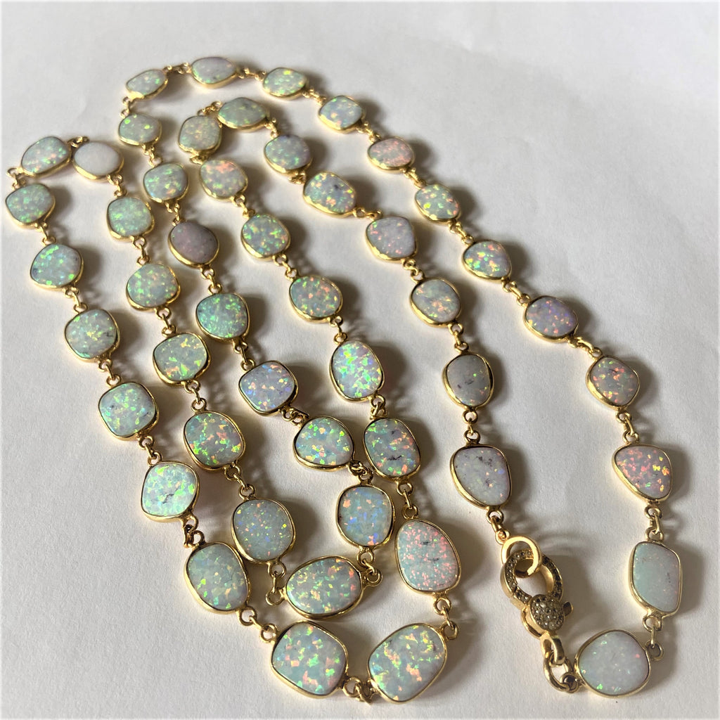 Large Oval Opal Necklace with 18 K Gold Filled and Diamond Closure