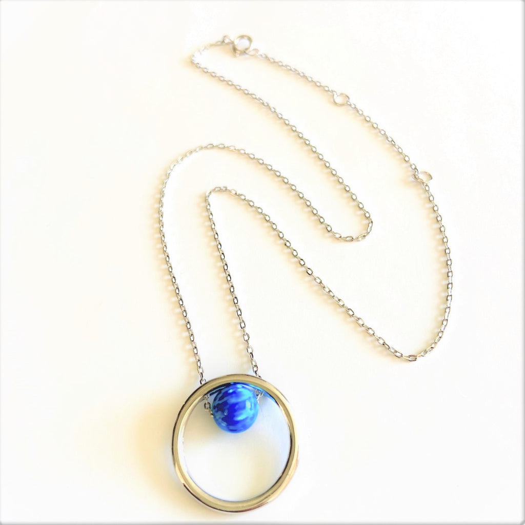 Round Blue Opal with Circle Sterling Silver Amulet Necklace