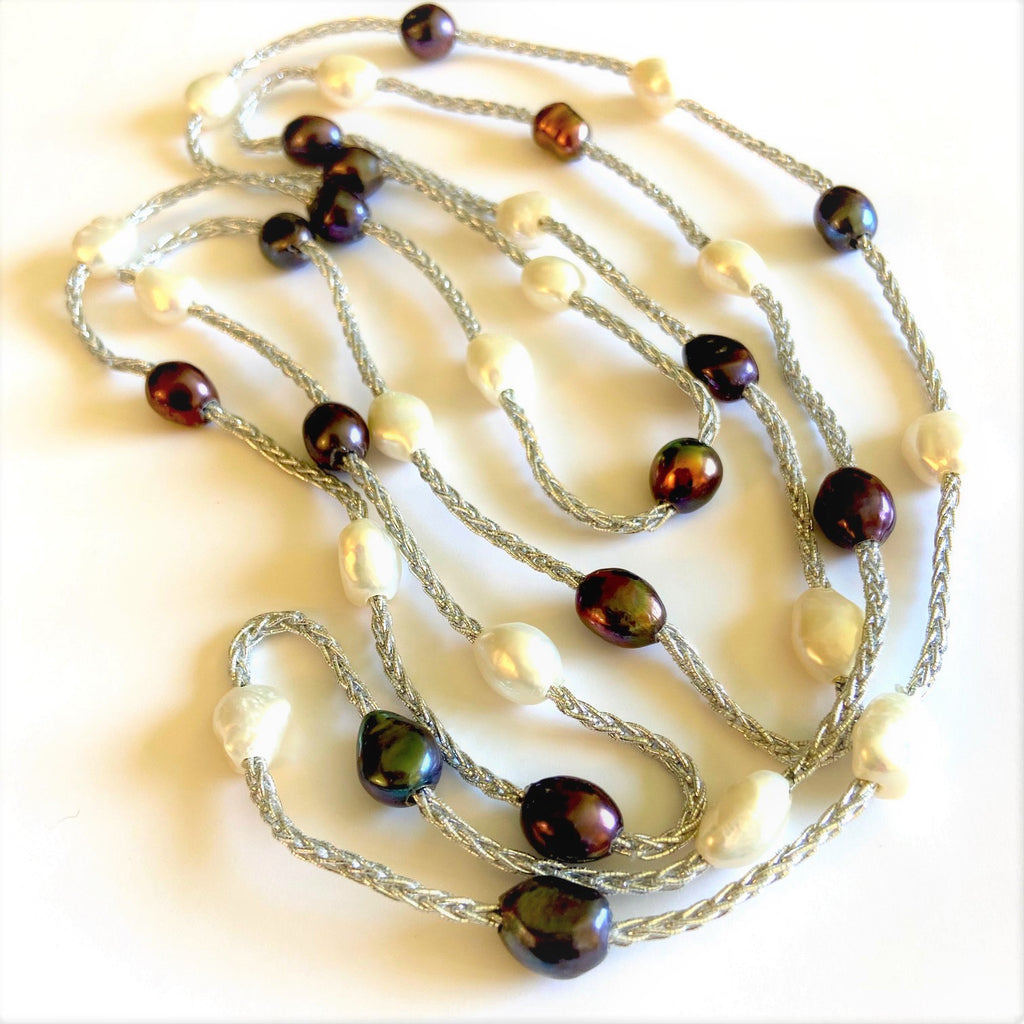 Cultured Pearls and Silk Long Necklace
