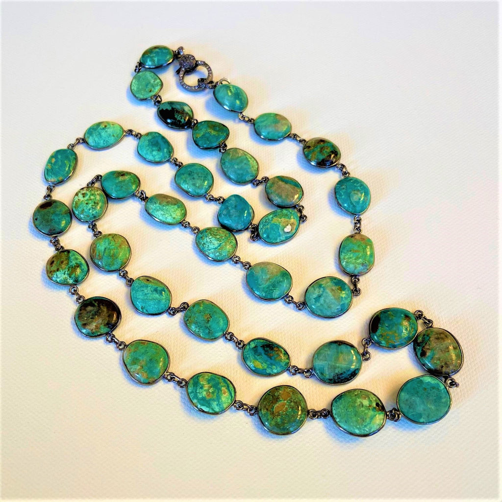 Chrysocolla and Oxidized Silver with White Topaz Closure Necklace