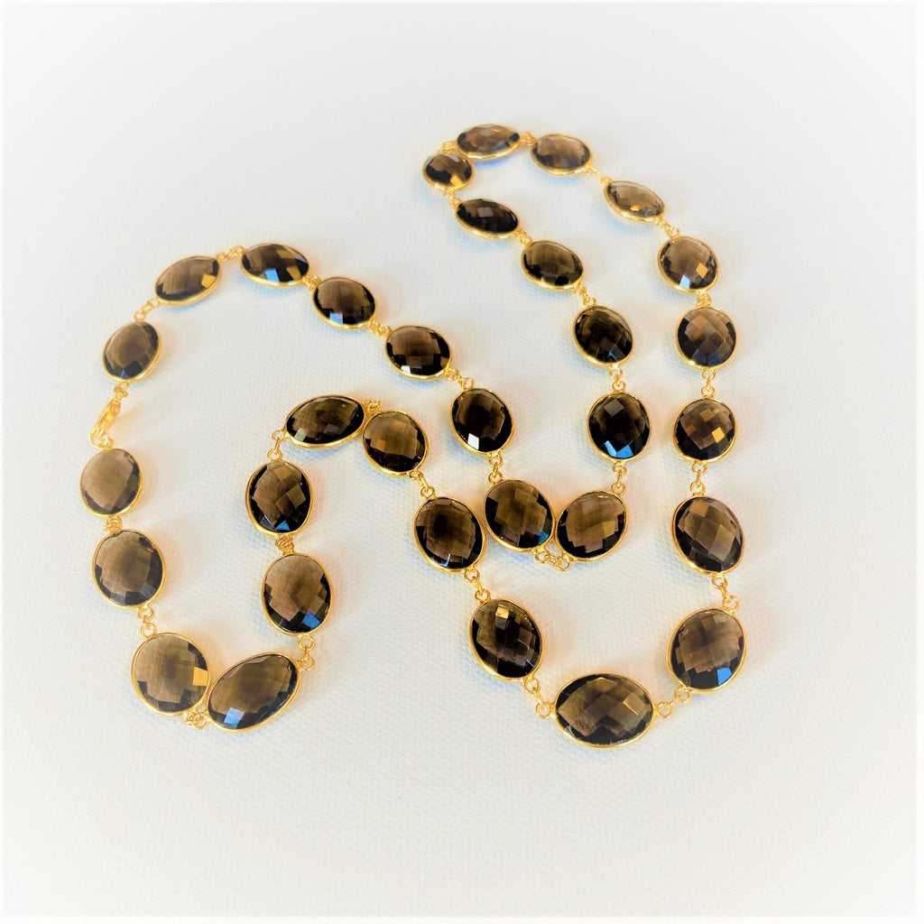Smokey Topaz and 18 K Gold Filled Necklace