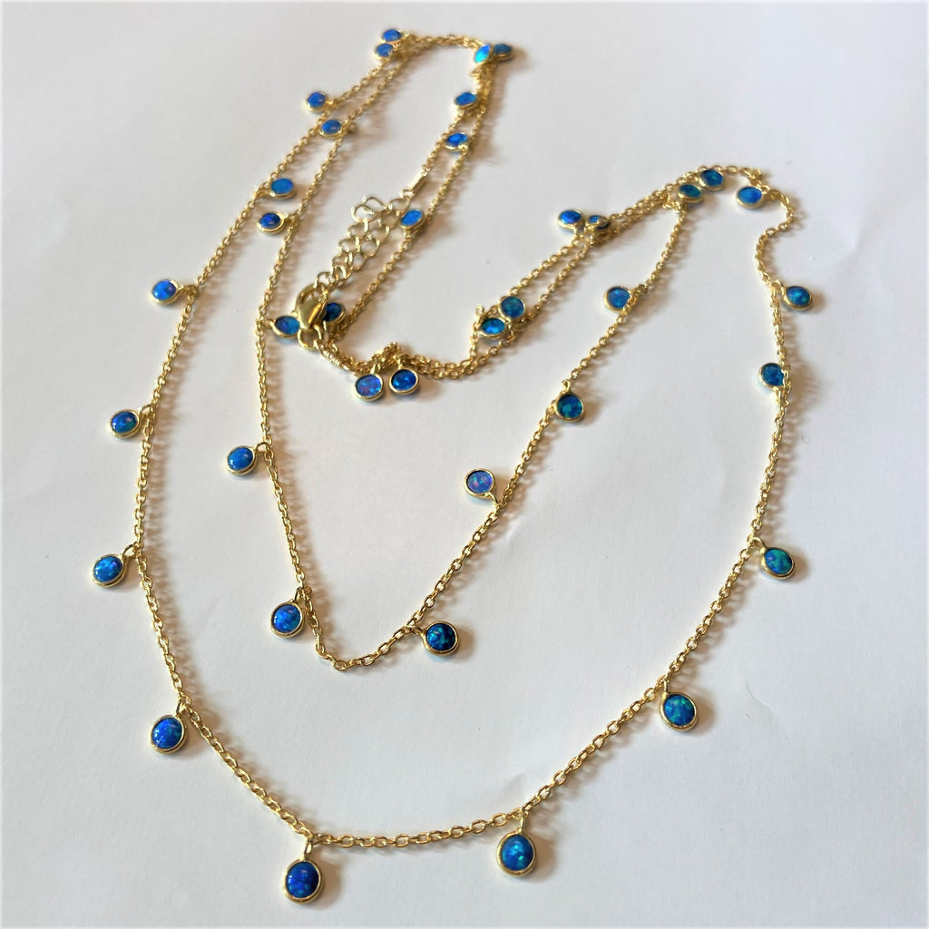 Blue Opal Round Droplet 18 K Gold Filled Necklace