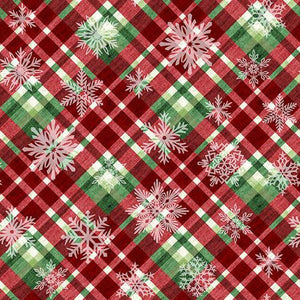 Hometown Holiday Snowflakes on Green and Red Plaid