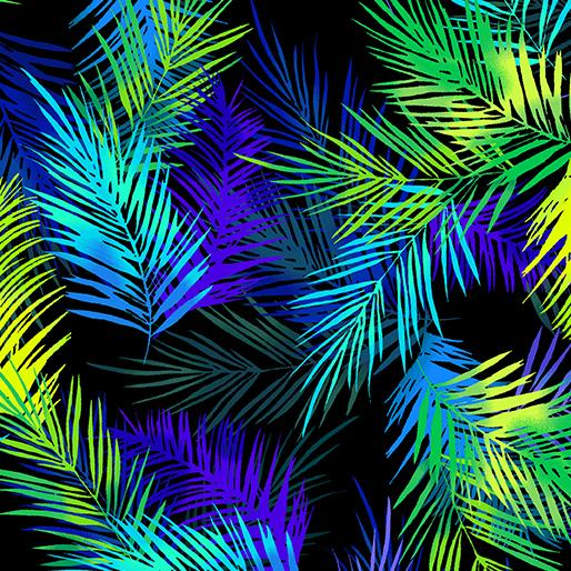 Island Palm Leaves on Black and Blue