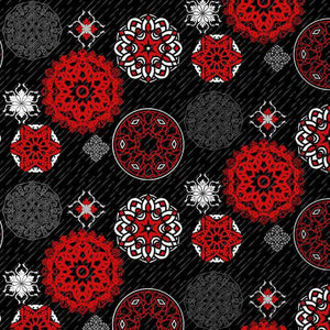 Moroccan Red - Black and Red Multi Sized Medallion on Black Ground